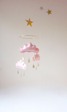 """Rain Cloud mobile for nursery """"CUSTOM for lee """" by The Butter Flying-Rain Cloud Mobile Nursery Children Decor Pregnant Belly Painting, Scandinavian Kids Rooms, Cloud Craft, Cloud Mobile, Rose Pastel, Gold Nursery, Mobiles, Pink Clouds, Baby Crafts"""