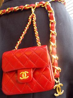 1999 Tag Mint Chanel Mini Quilted Leather Gold Chain Purse Bag Belt Red Vintage
