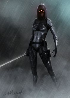 assassin by albert-radosevic female robot samurai armor rain sword armor clothes clothing fashion player character npc | Create your own roleplaying game material w/ RPG Bard: www.rpgbard.com | Writing inspiration for Dungeons and Dragons DND D&D Pathfinder PFRPG Warhammer 40k Star Wars Shadowrun Call of Cthulhu Lord of the Rings LoTR + d20 fantasy science fiction scifi horror design | Not Trusty Sword art: click artwork for source