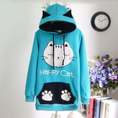 Cute cat cartoon fleece sweater