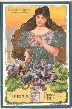 German Chromo Trade Card Liebig Woman & Violets Modesty