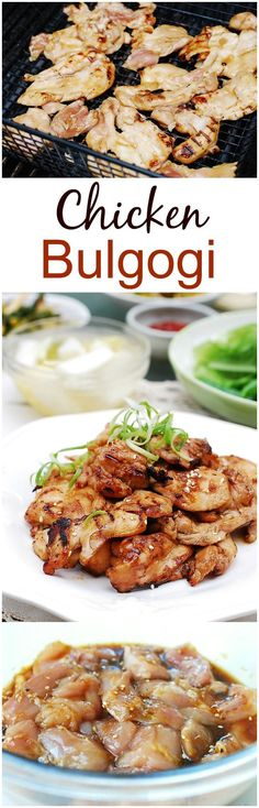 If you like sweet and savory bulgogi flavor but don't like red meat, this chicken bulgogi recipe is for you! Bulgogi is a marinated meat dish made with thin slices of beef. Dak bulgogi is a variation made with chicken. Korean Dishes, Korean Food, Korean Grill, Chicken Bulgogi Recipe, Korean Bbq Chicken, Chinese Chicken, Grilling Chicken, Chipotle Chicken, Turkey Recipes