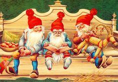 Lars Carlsson (1921-2002), Sweden Swedish Christmas, Christmas Mood, Scandinavian Christmas, Vintage Christmas, Christmas Knomes, Baumgarten, Christmas Challenge, Christmas Illustration, Christmas Pictures