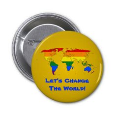 LGBT rainbow pride world map Button