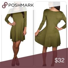 Olive long sleeve jersey dress Really pretty casual olive color jersey dress. Dress it up or down for any occasion !! Dresses Long Sleeve
