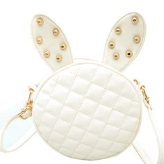 Delicate New Women Girl Summer Cute Rabbit Ear Round PU Leather Body Mini Shoulder Messenger Bag Black