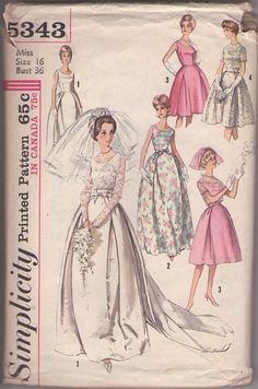 MOMSPatterns Vintage Sewing Patterns - Simplicity 5343 Vintage 60's Sewing Pattern AMAZING Foldover Pleats Full Bell Shaped Skirt Grace Kelly Royal Wedding Gown, Lace Bodice, Prom Dress, Party Gown, Sheer Lace Jacket Cover Up