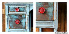 red drawer pulls distressed dresser