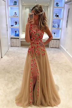 Champagne tulle see-through handmade flowers slit long dresses for teens