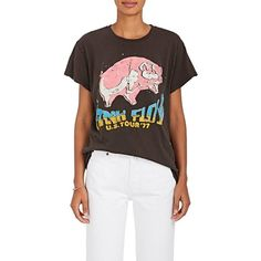 """Madeworn Women's \""""Pink Floyd\"""" Cotton T-Shirt ($175) ❤ liked on Polyvore featuring tops, t-shirts, black, crew neck tee, graphic design t shirts, cotton t shirts, ripped graphic tee and distressed t shirt"""