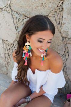 Statement Earrings Outfit, Big Earrings, Bridal Earrings, Tassel Earrings, Ear Jewelry, Jewellery, Boho Diy, Fabric Jewelry, Nordstrom Dresses