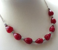 Raw ruby necklace Tree of Life necklace July birthstone Miniature terrarium… Ruby Necklace, Short Necklace, Simple Necklace, Simple Jewelry, Emerald Earrings, Bead Jewellery, Beaded Jewelry, Jewelery, Handmade Jewelry