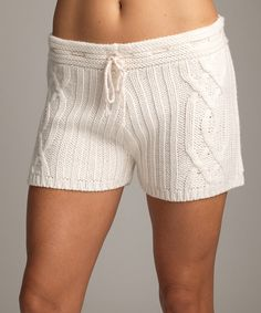 Milk Cable-Knit Shorts by Lemon Legwear