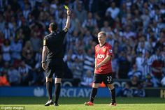 Paul Scholes picked up another booking on his final outing for Manchester United