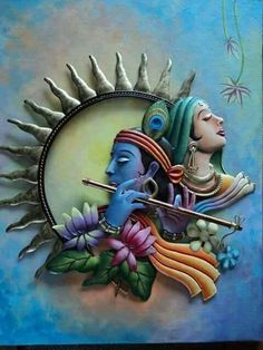 It is believed that nothing can be a better gift than the gift of love. Our Mira Krishna wall hanging is just the next best gift. Clay Wall Art, Mural Wall Art, Mural Painting, Ceramic Painting, Clay Art, Murals, Krishna Painting, Krishna Art, Krishna Statue
