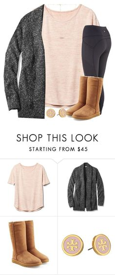 wishin I was snoozin.. by wiinter-blue ❤ liked on Polyvore featuring Gap, L.L.Bean, UGG, Tory Burch and Kendra Scott