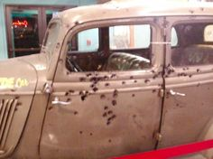 Close up, drivers side of Bonnie and Clyde's car which is on display at a Casino just outside of Reno, Nevada