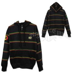 This charcoal lightweight zip-up hoodie features horizontal Rasta colored pinstripes printed across the entire garment. There is a round Lion of Judah patch on the right sleeve and a Bob Marley logo patch on the upper left chest. This hoodie features a heavy duty zipper, hood drawstrings, and a cover tape over the inside neck seam installed to ensure added comfort and durability.