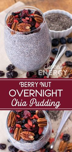 Overnight Chia Pudding that is loaded with nuts, fruit and those super chia seeds. So easy to make and lasts all week long. Goji Berry Recipes, Nut Recipes, Cranberry Recipes, Healthy Breakfast Recipes, Healthy Snacks, Syrup Recipes, Detox Recipes, Overnight Chia Pudding