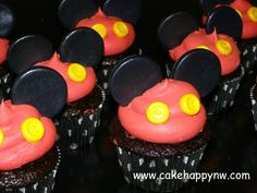 Mickey Mouse Themed Cupcakes for a 1st Birthday by www.cakehappynw.com!