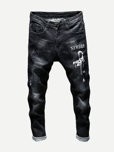 Men Letter And Scorpion Print Jeans -SheIn(Sheinside)- Men Letter And Scorpion Print Jeans -SheIn(Sheinside) Men Letter And Scorpion Print Jeans -SheIn(Sheinside) - Black Jeans Men, Denim Jeans Men, Boys Jeans, Jeans Style, Shirt Style, Big & Tall Jeans, Clothing Store Design, Stylish Mens Fashion, Type Of Pants
