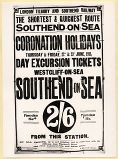 London Tilbury and Southend Railway Poster. Day Excusions to Southend, 1911 Train Posters, Railway Posters, British Travel, Old Signs, Tilbury, Public Transport, Vintage Posters, Signage, Britain