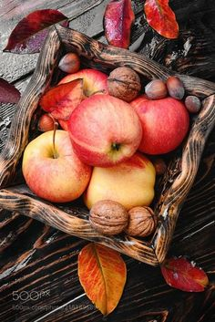 Apples and hazelnuts in an autumn basket