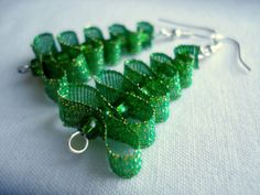 Green Christmas tree earrings Christmas tree Christmas earrings green earrings long earrings Christmas gift winter earrings size M Ohrringe Diy Christmas Earrings, Christmas Jewelry, Christmas Crafts, Ribbon On Christmas Tree, Green Christmas, Christmas Time, Xmas, Bead Crafts, Jewelry Crafts