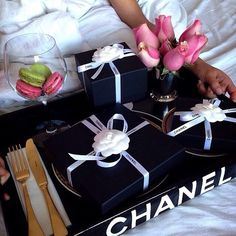 Good morning, breakfast with Chanel gifts. #macarons #chanel