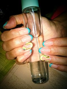 Nails#color#blue#yellow#flower#swarowsky#
