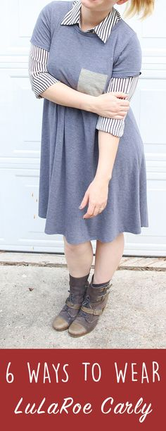 Lularoe Carly Dress Styling 6 Ways for the Lularoe lover! You can do everything to the Lularoe Carly dress from  tying it in a knot, layering with leggings, pairing with jeans, making  it work appropriate & so much more! I love my Gray Lularoe Carly  dress tied or loose. Wearing it with booties or boots during the fall.  Perfect for layering or wearing alone in spring & summer. #lularoe #momblogger #fashionstyle #fashionblog #momstyle
