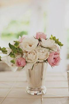 Mint Julep Centerpiece by The Enchanted Florist - Photo: Ulmer Studios Elegant Centerpieces, Wedding Centerpieces, Wedding Decorations, White Centerpiece, Centrepieces, Centerpiece Ideas, Wedding Themes, Wedding Styles, Wedding Venues