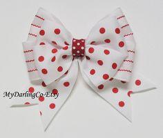 Hair Bows-Red Hair Bow-Polka Dot Hair Bow-Hair Clips-Girls Hair Bow-Clippies-Wedding Party Hair Bow-Flower Girl Hair Clip- #257