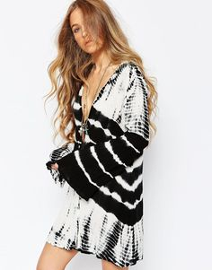 Billabong Button Through Festival Tea Dress With Bell Sleeves In Tye Dye Print