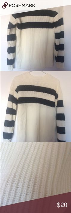 Forever 21 Black, cream knit sweater top Never worn! Black cream knit sweater top Forever 21 Tops