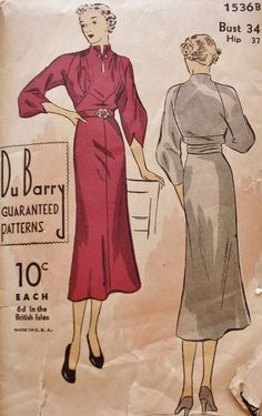 1930's Dress DuBarry Pattern 1536B Built-Up Neckline Clusters of Gathers Bust 34