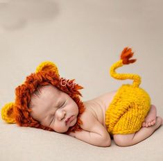 77ec194c4 $16.14 AUD - Newborn Baby Boy Girl Crochet Knit Lion Costume Photography  Prop Outfits #ebay