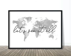 Let's See It All World Map Wall Art Digital Download   Etsy