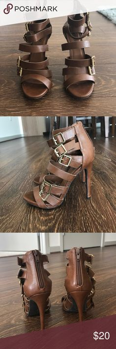 Brown caged heels Brown caged heels with gold buckles. 4 1/2 inch heels Shoes Heels