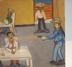 RETABLO Exvoto Folk Art Religious Painting Tin Western Bar Shooting in Art, Art from Dealers & Resellers, Paintings | eBay