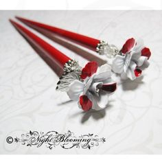 """Painting the Roses Red"" hairsticks    NightBlooming on etsy ♥"