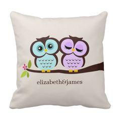 Aqua and Purple Custom Throw Pillow