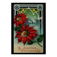 Gorgeous vintage Christmas postcard with poinsettias. Reminds me of my Mom. Vintage Christmas Images, Antique Christmas, Retro Christmas, Vintage Holiday, Christmas Pictures, Christmas Art, Crochet Christmas, Christmas Bells, Christmas Angels