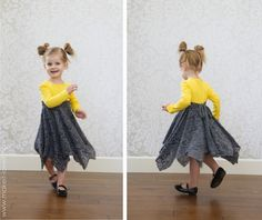 Double layer square circle dress (added onto a t-shirt) Little Girl Dresses, Girls Dresses, Summer Dresses, Sewing For Kids, Baby Sewing, Square Skirt, Circle Skirt Tutorial, Cut Off Shirt, Circle Dress