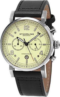 e360df557d8 Stuhrling Original Men s  Aviator  Quartz Stainless Steel and Leather Dress  Watch