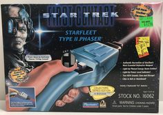Star Trek First Contact Starfleet Type II Phaser with Working Lights and Sounds Star Trek Toys, Star Wars, Star Trek Action Figures, First Contact, Work Lights, Vintage Toys, Master Chief, Light Up, Coding