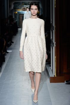 """Le Pré du levant"" dress in ivory wool embroidered  with country seed flowers.  Shoes embroidered with country seed flowers.    http://www.valentino.com/en/collections/haute-couture/"