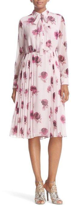Kate Spade 'Encore Rose' Tie Neck Pleat Chiffon Dress