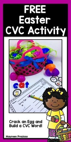 FREE Easter CVC Activity for Kindergarten.  Students will love building and recording CVC words with this fun Easter activity!  Great for Literacy Centers and RTI Groups!