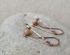 Sunstone Earrings Modern Hammered Dangle Brass by JustynaSart